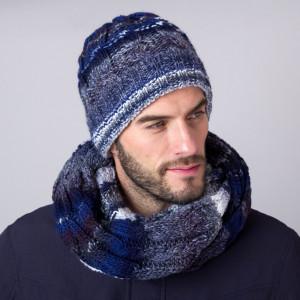 Granatowo-szara czapka zimowa