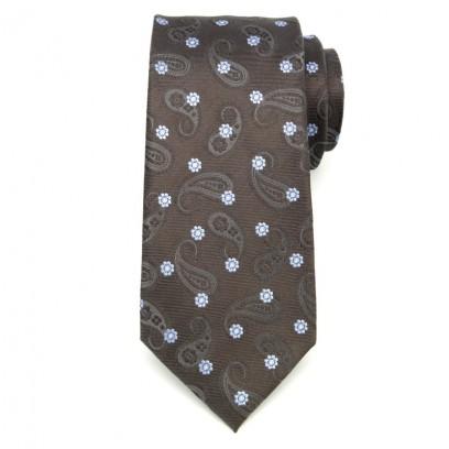 Brązowy jedwabny krawat w kwiatki i łezki