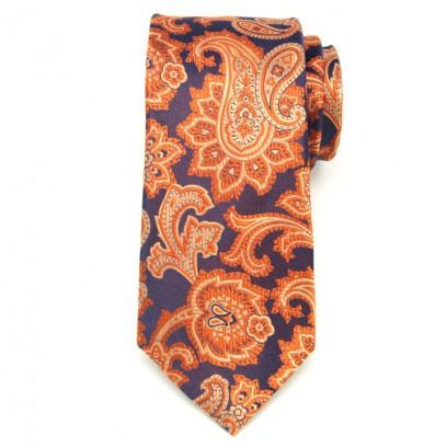 Granatowy jedwabny krawat we wzór paisley