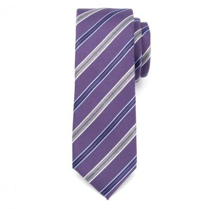 Wąski fioletowy krawat klubowy w paski
