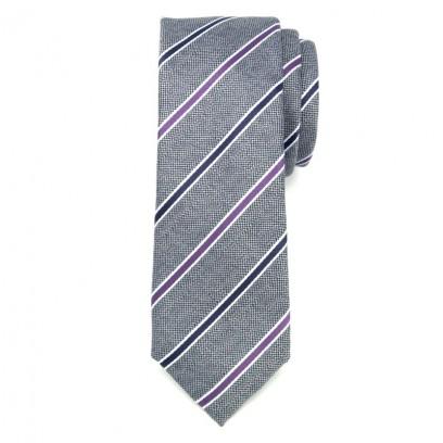 Szary wąski krawat klubowy w paski