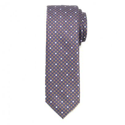 Wąski krawat w granatowo-brązową kratkę