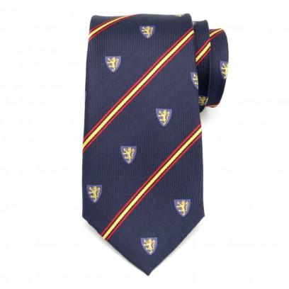 Granatowy jedwabny krawat klubowy w herby i pasy