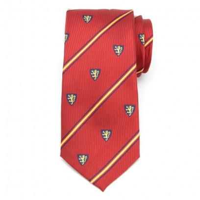 Czerwony jedwabny krawat klubowy w herby i pasy