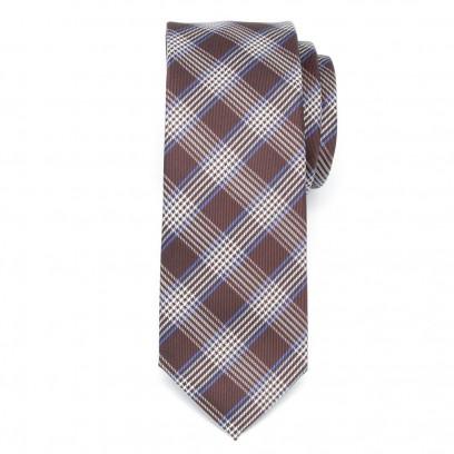 Wąski brązowy krawat w kratę