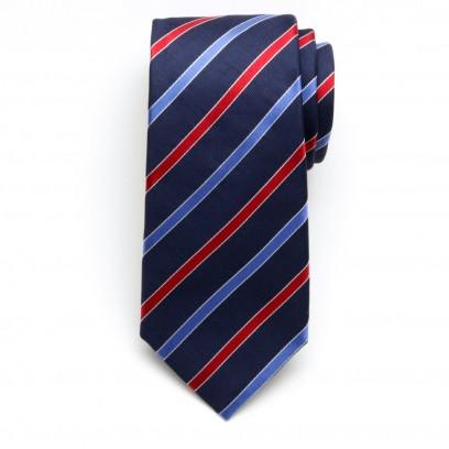 Granatowy jedwabny krawat w paski