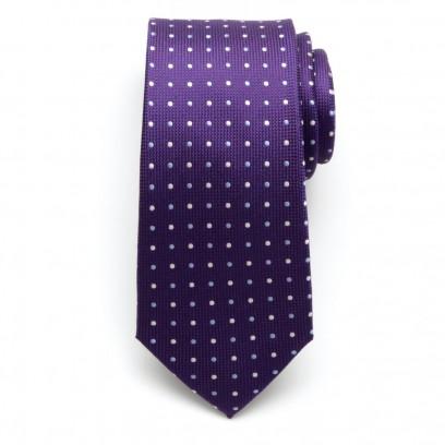 Fioletowy jedwabny krawat w kropki
