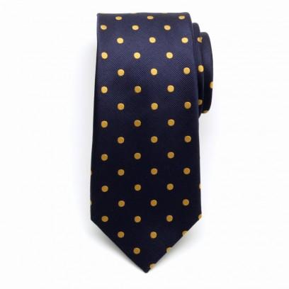 Granatowy jedwabny krawat w żółte kropki