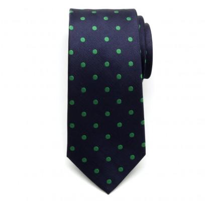 Granatowy jedwabny krawat w zielone kropki