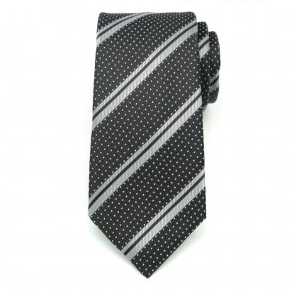 Klasyczny czarny krawat w kropki i paski