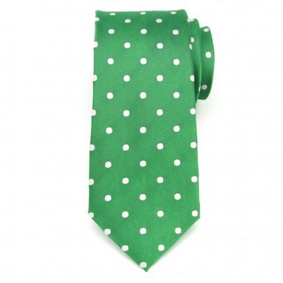 Zielony jedwabny krawat w kropki