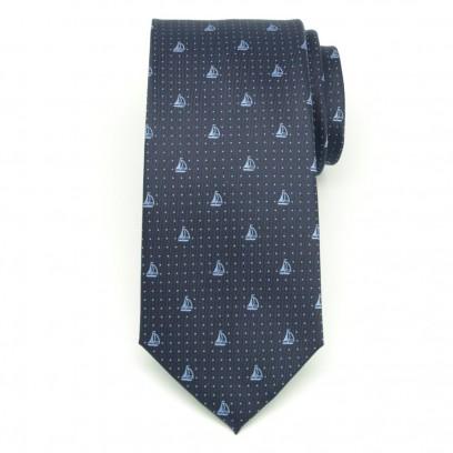 Granatowy jedwabny krawat w kropki i żaglówki