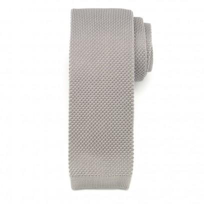 Szary wąski krawat tkany