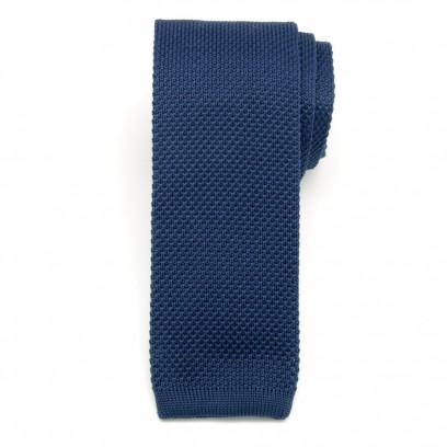 Granatowy wąski krawat tkany