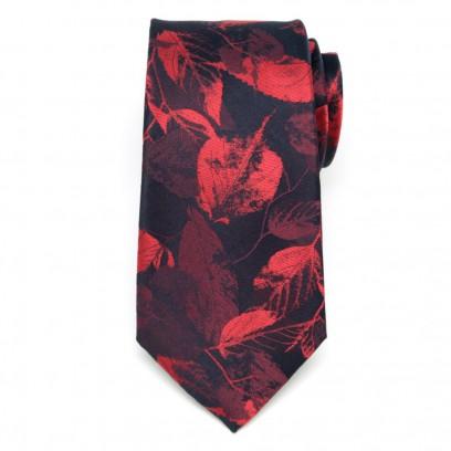 Czarny jedwabny krawat w liście