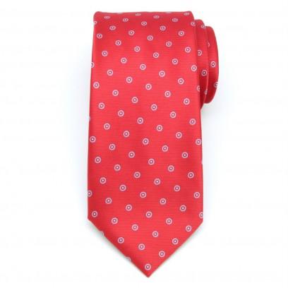 Czerwony klasyczny krawat w kropki