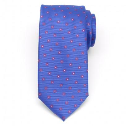 Klasyczny modrakowy krawat w kropki