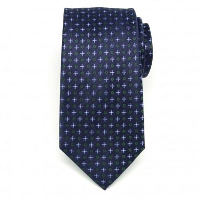 Jedwabny granatowy krawat we wzory