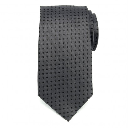 Szary jedwabny krawat w czarne kropki