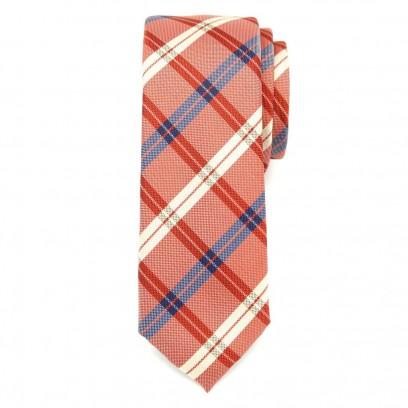 Wąski pomarańczowy krawat w kratę