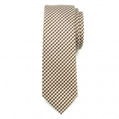 Wąski krawat w beżowo-brązową kratkę