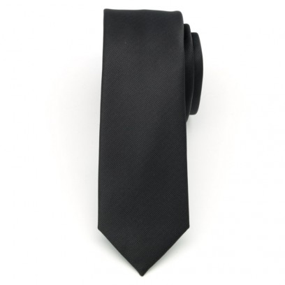 Wąski czarny krawat w prążek