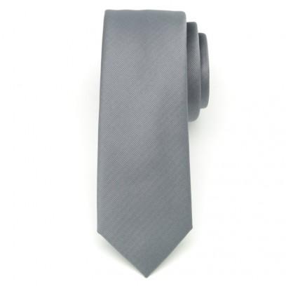 Wąski popielaty krawat w prążek
