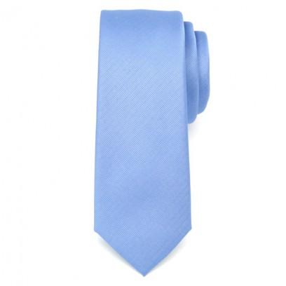 Wąski niebieski krawat w prążek