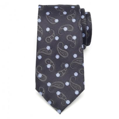 Szary jedwabny krawat w kwiatki i łezki