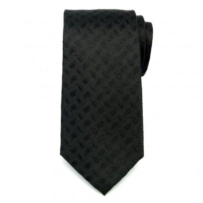 Czarny jedwabny krawat w jodełkę i łezki