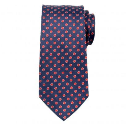 Granatowy jedwabny krawat w czerwone kropki