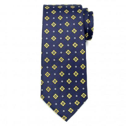 Granatowy jedwabny krawat w kwieciste wzory