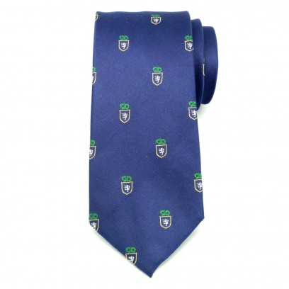Granatowy jedwabny krawat klubowy w herby
