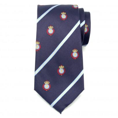 Fioletowy jedwabny krawat klubowy w herby i pasy