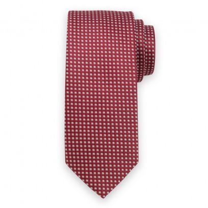 Bordowy krawat w drobne kwadraty