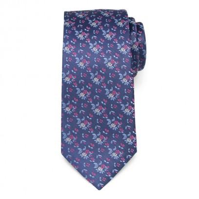 Granatowy jedwabny krawat w kwiaty