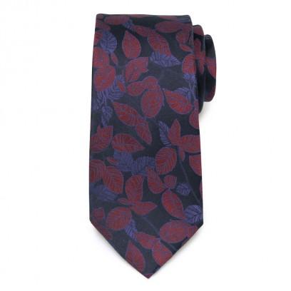 Granatowy jedwabny krawat w liście