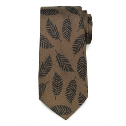 Brązowy jedwabny krawat w liście