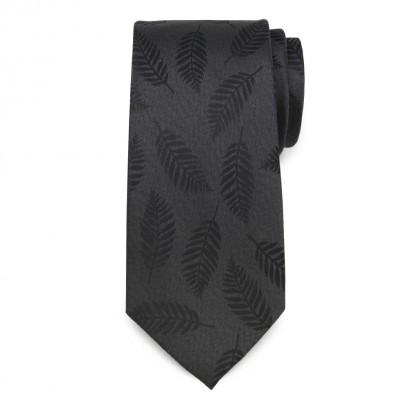 Grafitowy jedwabny krawat w liście