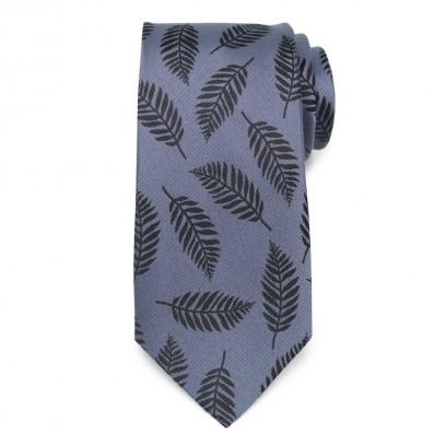 Niebieski jedwabny krawat w liście