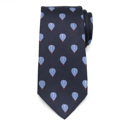 Granatowy jedwabny krawat w balony