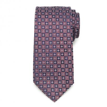 Klasyczny granatowy krawat w kropki i kwiaty