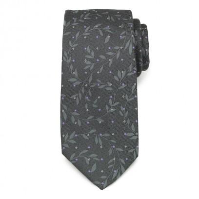 Klasyczny grafitowy krawat w liście