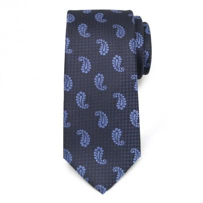 Klasyczny granatowo-czarny krawat w łezki