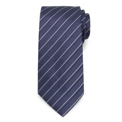 Klasyczny granatowy krawat w prążki