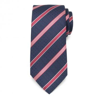 Klasyczny granatowy krawat w kropki i pasy