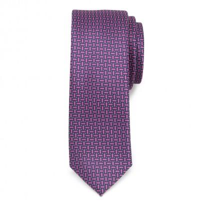 Wąski granatowy krawat w wzór
