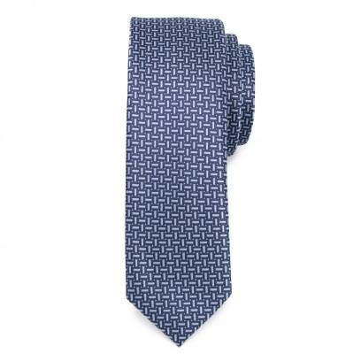 Wąski krawat w granatowo-niebieski wzór