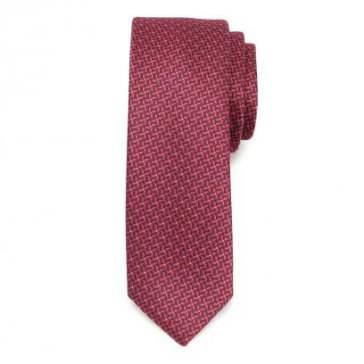 Wąski krawat w granatowo-czerwony wzór