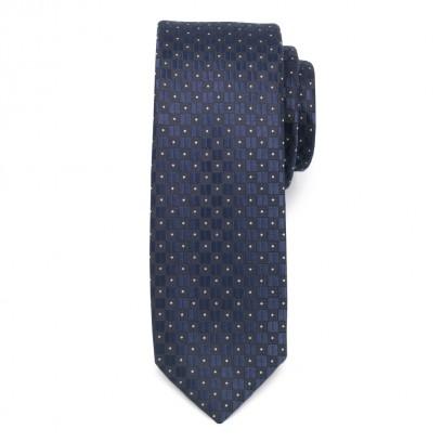Wąski granatowo-czarny krawat w kropki